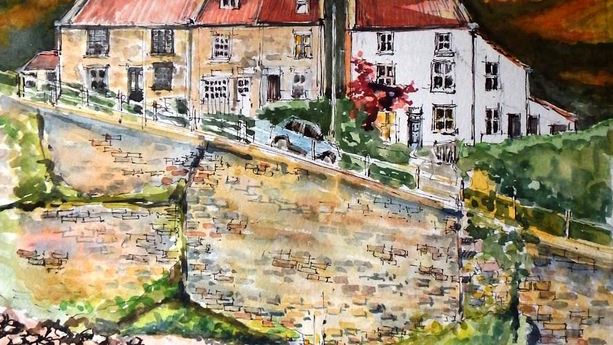 Sunlit Cowbar, Staithes. Ink & watercolour. 46x46cms