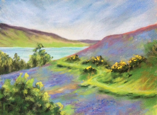 Grasmere, bluebell time Pastels.14x11ins