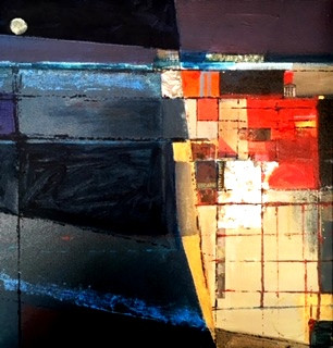 Night Harbour. Mixed media & Collage. 40x40cms