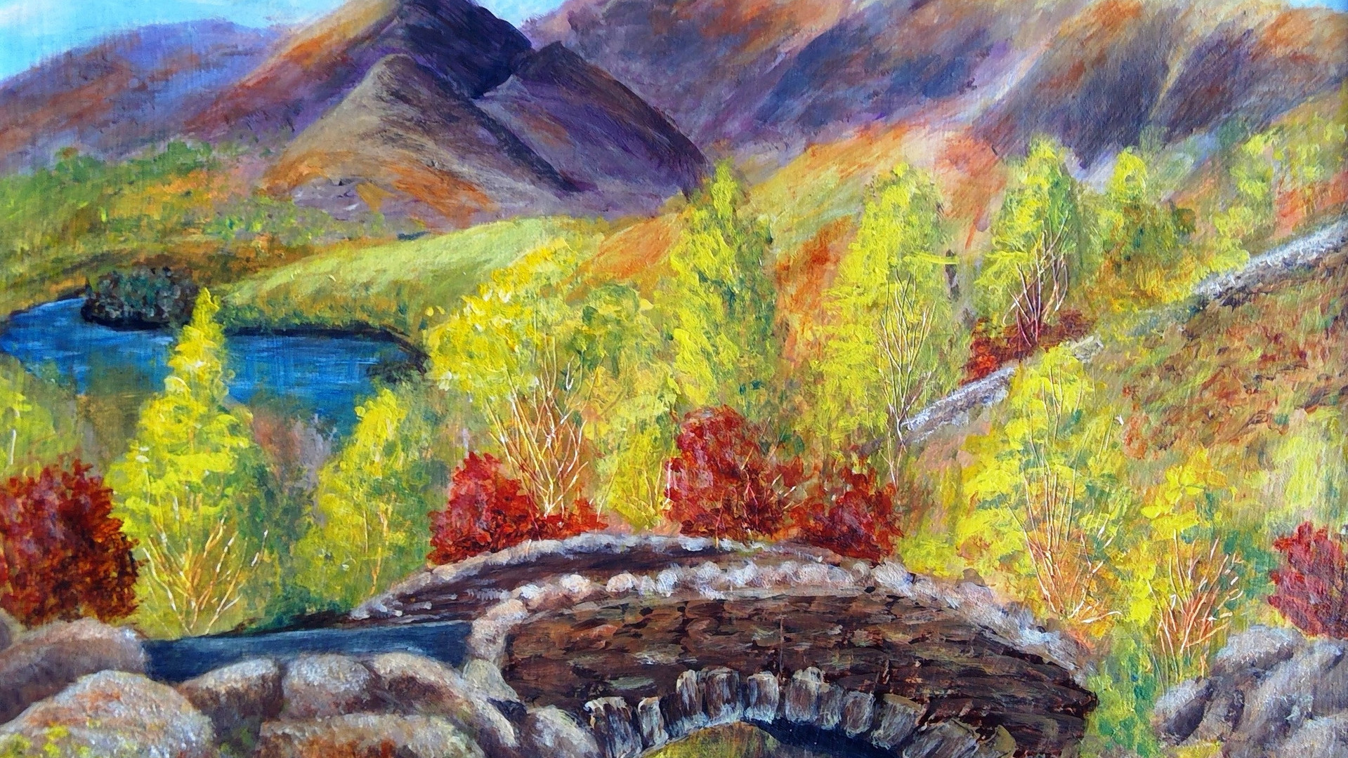 Ashness Bridge Acrylics. 40x30cms