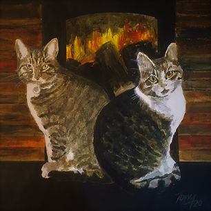 Two tabby cats  - a painting in gouache & watercolour