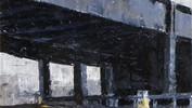 Flyover, Woodpecker Junction, Leeds             Oils. 21x21cms