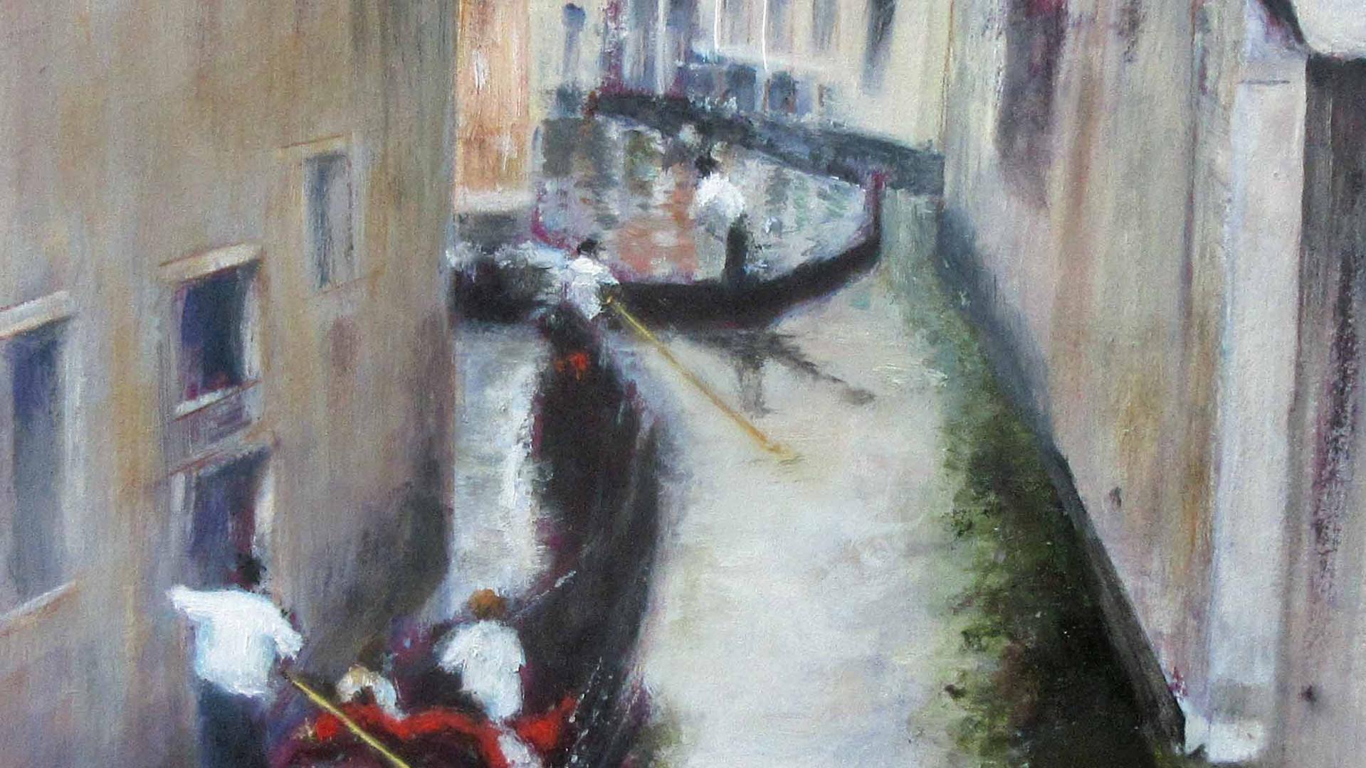 Venetian Canal Oils. 16x16cms