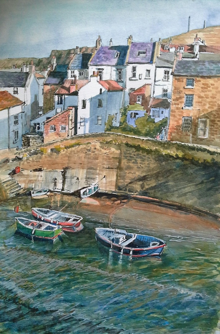 Staithes Sunlight & Shadows. Mixed media on paper. 37x27cms