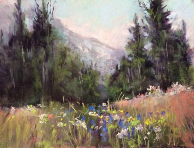 Flower Meadow Pastels. 9x12ins