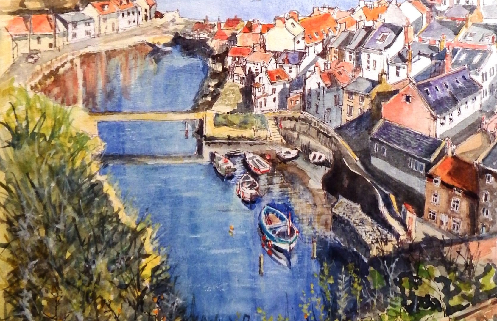 Staithes Harbour Ink & watercolour. 57x46cms