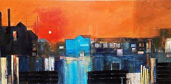Sunset industrial semi abstract art work artwork