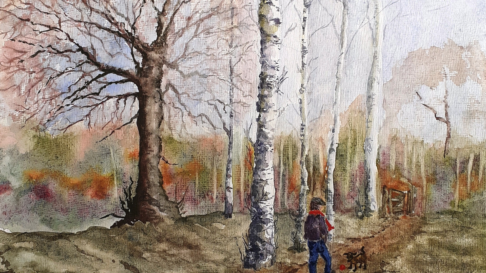 A Winter Walk Watercolours