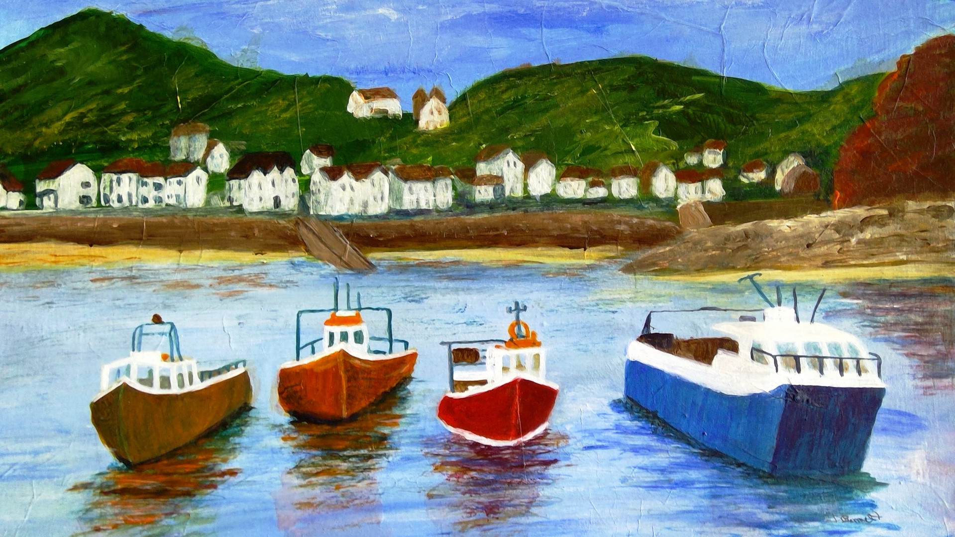 Staithes Harbour Acrylics. 30x40cms