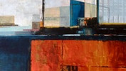 Steel RiverJetty Acrylics & Collage on board.80x60cms