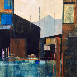 Warehouse No.6 Acrylics & Collage on canvas. 80x80cms