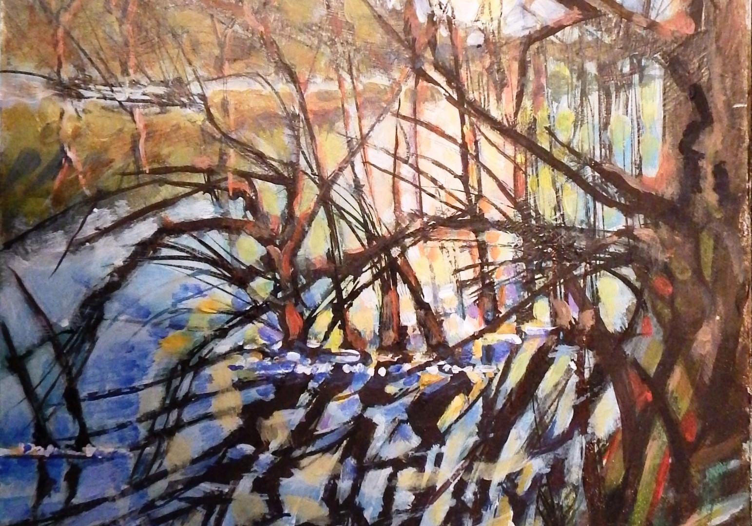 Full Moon, Waterloo Lake ( Roundhay Park, Leeds). Inks & acrylics. 48x36cms.
