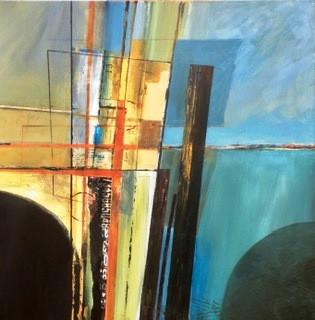Pier 13. Acrylics & Collage. 60x60cms