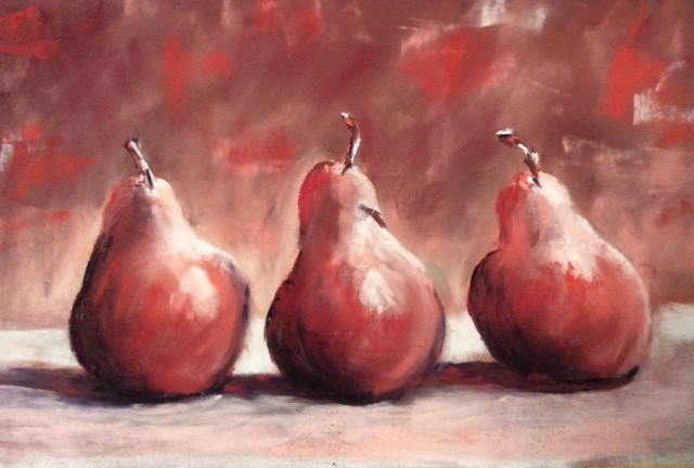 Pears Pastels. 12x9ins