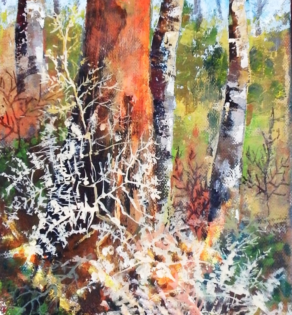 Tall Red Tree & Ferns. Acrylic on canvas. 60x20cms