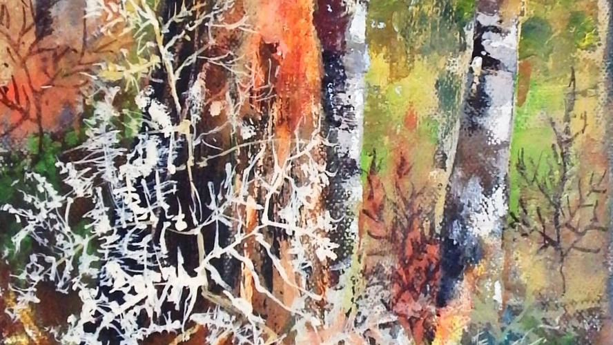 Tall Red Tree & Ferns. Acrylic on canvas. 60x20cms