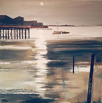 Low Tide at Dusk Mixed media image for sale
