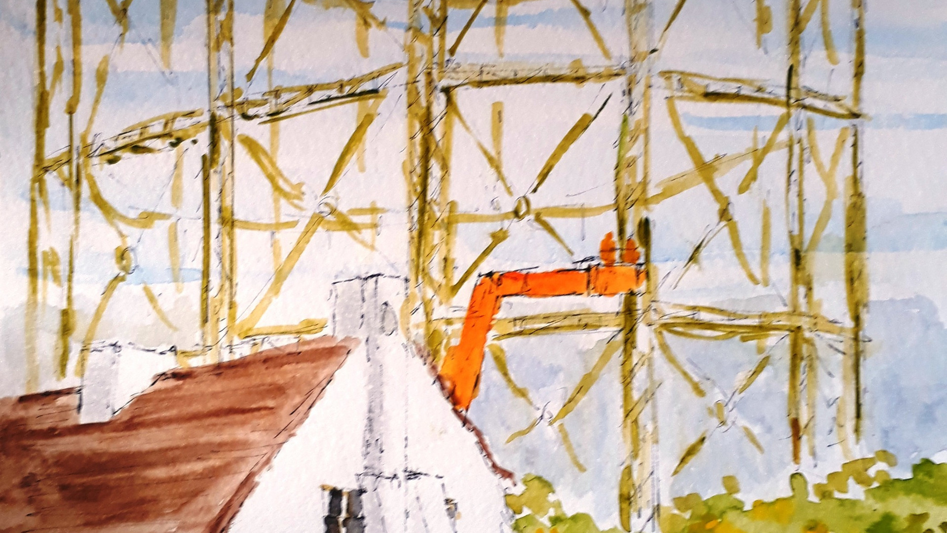 Lords' Gasholders Watercolour