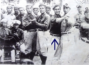 The racing driver , Fangio, in a tango pose during his military service, Argentina 1932