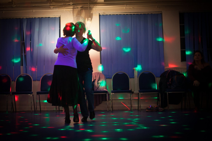 QTL regulars dance at one of our practicas in Vauxhall Gardens Community Centre