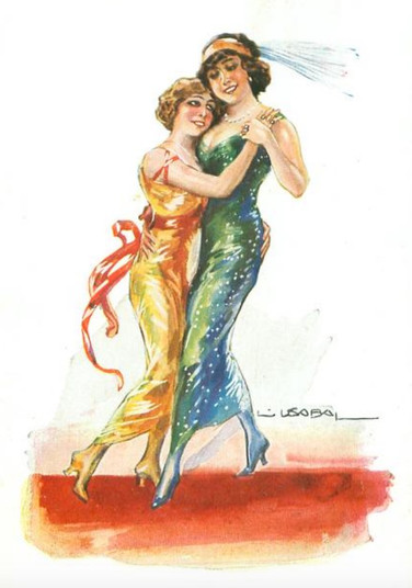 American postcard, 1913, artwork by Liz Usabal Y Herndandez