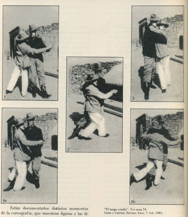 Photograph in a magazine of two men dancing tango in 1903