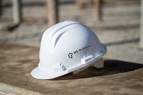 msbuilders safety helmet with company logo