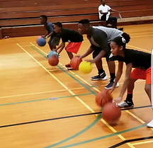 children learning basketball drills