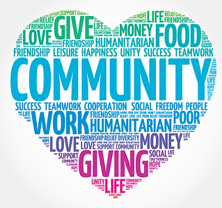 Heart shape containing text about community and humanitarian work