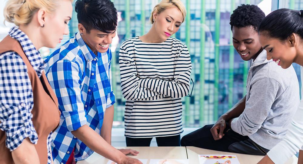 Creative diverse team meeting