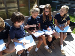 Students outside with animals