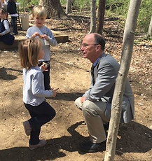 Mr. Wagner talking with a student