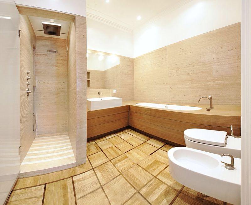 Bagno e doccia in marmo Botticino