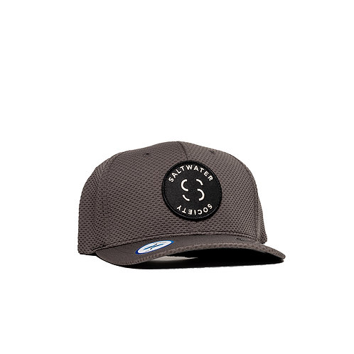 "SALTWATER SOCIETY  ""MEMBER PATCH"" GRAY FLEXFIT ""COOL & DRY"" SIZED SNAPBACK HAT"