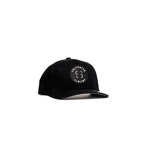 "SALTWATER SOCIETY  ""MEMBER PATCH""  BLACK FLEXFIT SIZED SNAPBACK HAT"