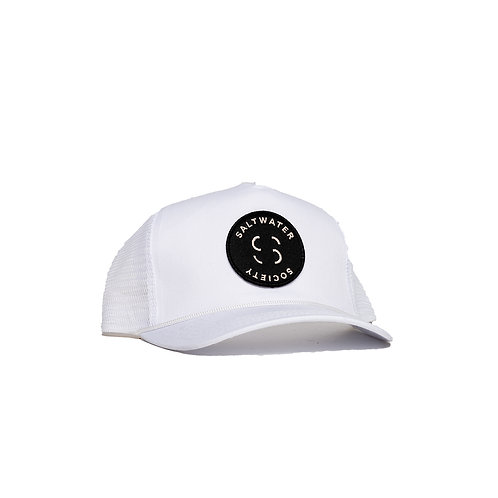 "SALTWATER SOCIETY  ""MEMBER PATCH"" WHITE SNAPBACK HAT"