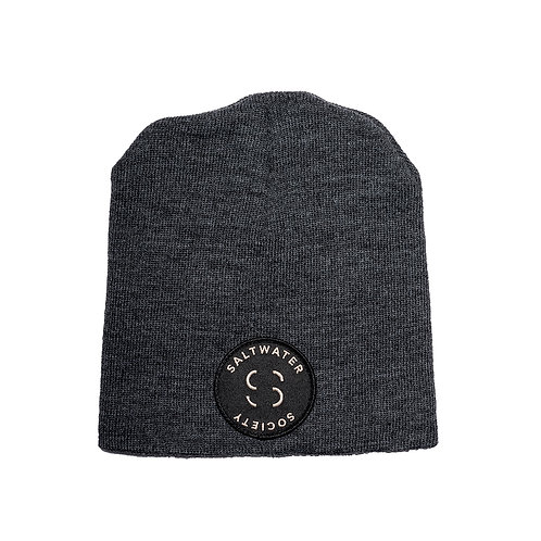"""SALTWATER SOCIETY  """"MEMBER PATCH""""  GRAY BEANIE"""