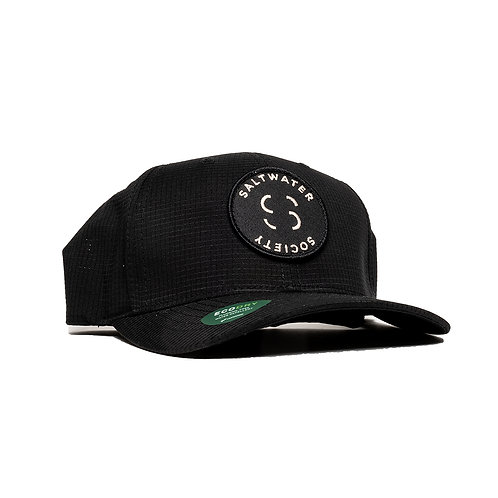 "SALTWATER SOCIETY ""MEMBER PATCH"" BLACK FLEXFIT ""ECO DRY"" SIZED SNAPBACK HAT"