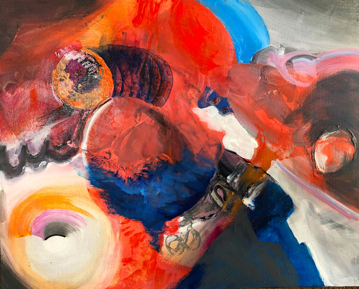"""Spellbound, acrylic collage on 1 ½"""" canvas,  $325, unframed, but edges painted, 16"""" x 20"""""""