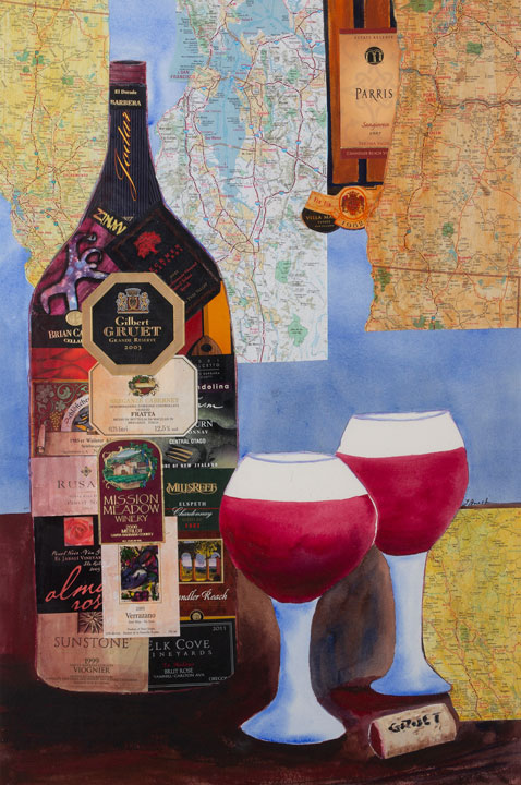 Wine Country, maps, wine labels and acrylic, $800, framed 39 x 29 in wide dark mahogany wood