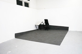 Untitled, 60 Carpe Tiles, A Desk And A Chair