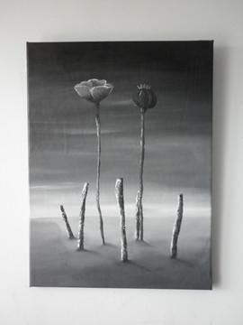 2 Poppies with 5 Sticks