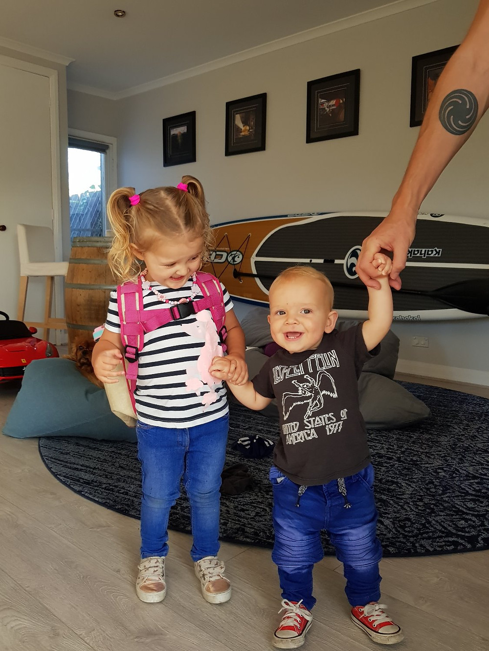 Zed's first day of daycare, Lena was SO proud