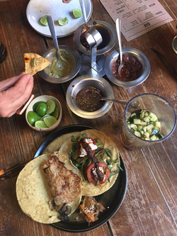 vegan tacos with incredible salsas
