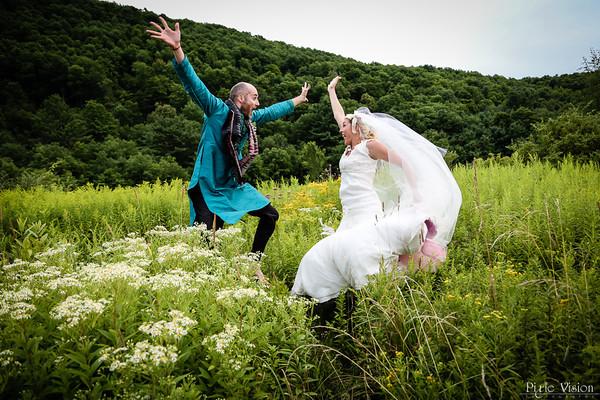 Jumping bride & groom