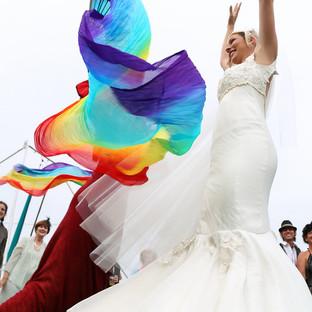 happy bride with color