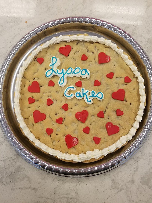 Chocolate Chip Cookie Cake with Hearts