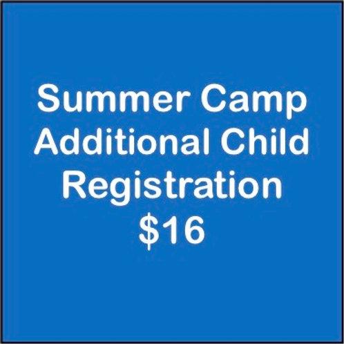Summer Camp Additional Child Registration Fee