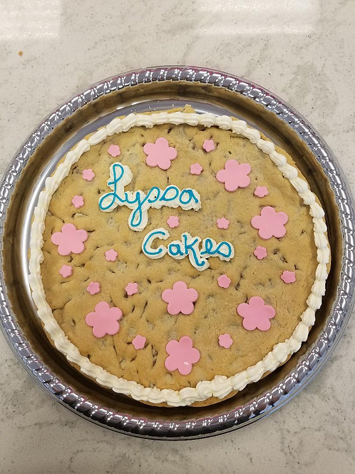 Chocolate Chip Cookie Cake with Flowers