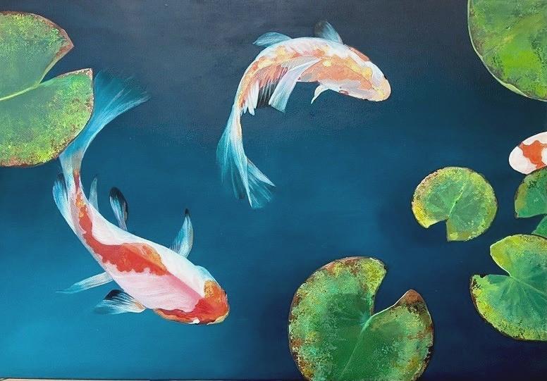 Carpes Koi  Acrylique sur toile 100x70